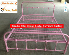 Pink metal double bed/iron wrought bed Made in China