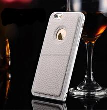 2015 New design Litchi Grain Aluminium Metal Bumper Leather Back Case Cover phone case for iphone 6 china wholesale