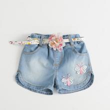 ta16018 flower pattern denim fashion girls shorts with belt