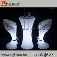 Alibaba China remote control illuminated rechargeable portable white plastic garden tables