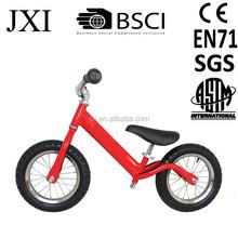 2015 fashion red color inflatable tire steel rim best price steel balance running push bike children balance bike