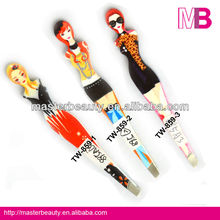 Fashion eyebrow tweezers with lady printing,eyelash tweezers,cosmetic tweezers