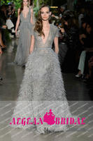 E31 Formal V Neck Short SLeeve Beading Upper Body Ostrich Feather Evening Dresses
