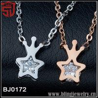 316L Rose Gold Titanium Steel Inlay Zircon Women Pentagram Pendant
