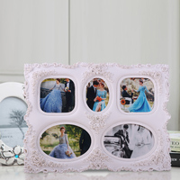 snow white polyurethane picture frame for multiple photos for mother's birthday lovers 5 boxes 0.65kg diamond decoration BY001