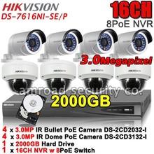 HIKVISION Kit 16CH 8Port PoE NVR DS-7616NI-SE/P + 2TB HDD+HD PoE 3MP IR Bullet Dome IP Camera 4x DS-2CD2032-I +4x DS-2CD3132-I