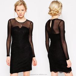 China wholesale crew neck fashion girls long sleeve black lace dress
