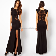 Latest Sexy Polyester Spandex Express Delivery Free Prom Evening Maxi Dress Women 2015 With Thigh Split Black Lace Back Party