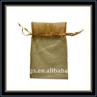 yellow printed sachet organza gift bag