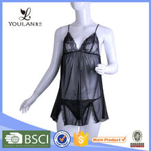 Romatic Noble and Elegant Polyester Matching Thong Ladies Transparent Dress Lingerie Sex Babydoll