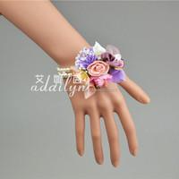 16HStock Colorful custom fabric/PE flowers bracelet handmade wristband