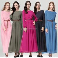 Turkey Women Fashion Summer Style Long Sleeve Loose Fit Print Ruffle Muslim Maxi Chiffon Dress Abaya Muslimah Thailand 2015