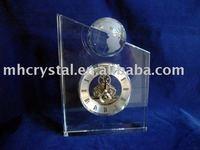 Fashion crystal clock with globe,crystal machinery clock