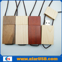 rope with wooden USB2.0 pen stick 1GB-64GB rectangular Usb Flash drive for gift and toy
