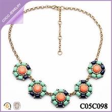 collares de moda verde diamante de imitación mujeres collares flores 2014