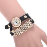 Fashion Girl's Synthetic Leather Sling Chain rhinestone bracelet watch cheap china watch