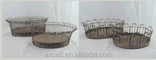 Shabby chic rustic metal wire garden basket