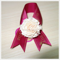 Hot Sale Red Ribbon Bow With White Flower