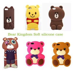 Newest 3D Cartoon animal Cute teddy/brown/winnie/dropout bear soft silicone case For Iphone4 4s/ 5 5s/ 5c /6 4.7inch/6plus