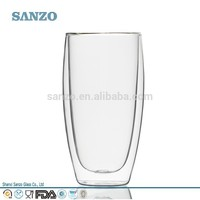 Hottest Hand-made Double Wall Glass Tea/Coffee/Water/Milk Cup crystal borosilicate clear heat resistance