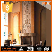 beige marble fireplace for villa use