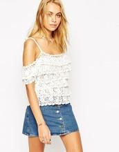 Customize Women's White Off Shoulder Ruffles Crochet Sexy Fashion Top