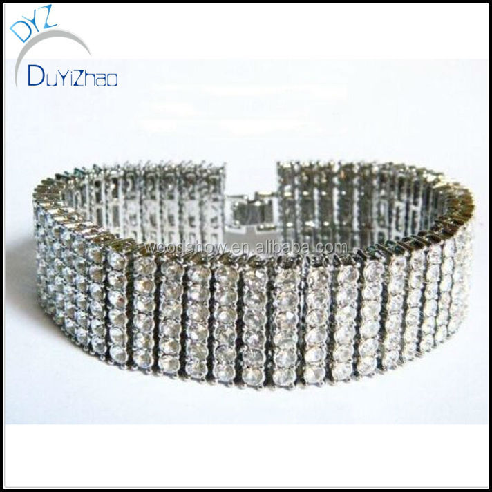 Brass Crystal Jewelry Iced Out Hip Hop Chunky Mens Bling Silver Bracelet
