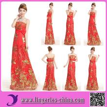 2015 Hot Sale Women Chiffon Evening Dress With Sleeves
