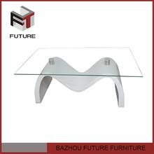 M forma de base blanco muebles de vidrio mesa de centro superior de venta