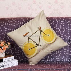 square bike digital printed linen sofa cushion covers