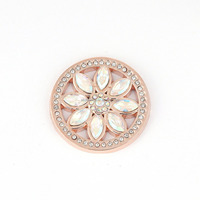 round shape rose gold cosmos flower design my coin locket pandant