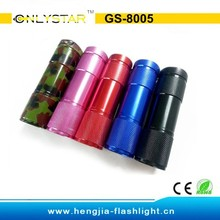 GS-8005 Promotional Aluminum 9 LED flashlight torch/9 LED flashlight /9 LED torch with AAA Battery