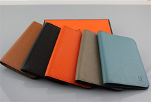 Custom logo high quality genuine leather checkbook cover