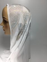 custom make Gorgeous high class arabic muslim bridal dimond hijab scarf party shinning islamic hijab scarf OYC4