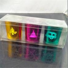 glass tealight holder with pvc box,festival celebrations glass candle holder set
