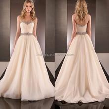Champagne Organza Strapless Sweetheart A Line Beading Wedding Dress Sharara ME065