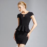 Black cap sleeve bandage dress formal dress for office lady