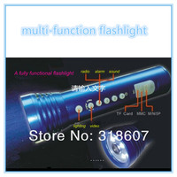 multi-function Mini Flashlight DV MP3 speaker FM led flashlight Camera DVR sports camera with H.264 dvr flashlight cctv camera