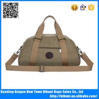 Custom Men fashion plain weekend canvas outdoor travel cotton duffle bag