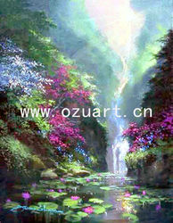 Classical handmade wall art waterfall landscape oil painting L027