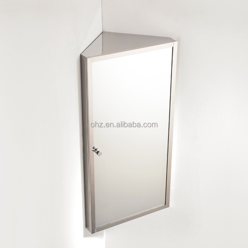 Wall hanging stainless steel small corner mirror cabinet for Small hanging mirror