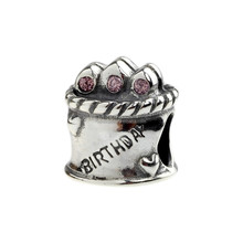 Wholesale Happy Birthday Celebration Cake Authentic 925 Sterling Silver Charm for European Bracelet