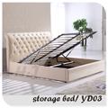 levantar de la cama de almacenamiento con tapizados de cuero yd03