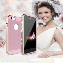 shockproof diamond case for iphone 6, metal bumper and tpu back cover for iphone 6 bling case