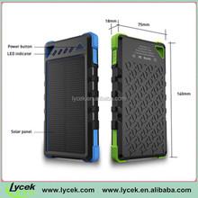 Solar energy Mobile Power Bank 8000mah lithium polymer battery 1.2W monocrystalline solar panel