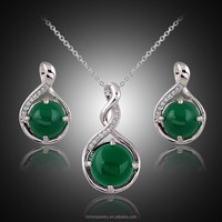 Fashion Women Natural Stone Jewelry Sets Real Platinum Plated Necklace And Earing Set Zircon Pendant Wedding Accessorie SKJT0150