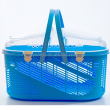 Small pet carrier travel basket crate carry handle cat dog rabbit plastic