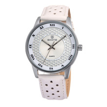 SKONE 9189 OEM ODM Manufacturer White Leather Band pu leather band watch
