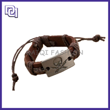 Halloween popular gift Decoration bracelet for cool man,Leather And Metal Skull Bracelet For Party