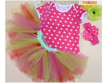 L-5852-8 Newbornn toddler baby outfits rose red dot skirt+lace dress+headband baby clothing set 2015
